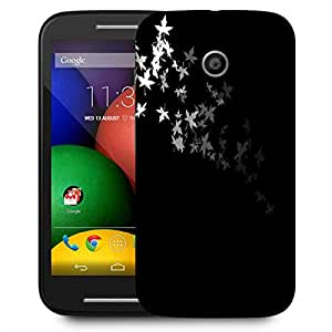 Snoogg Black And White Leaves Designer Protective Phone Back Case Cover For Motorola E2 / MOTO E22