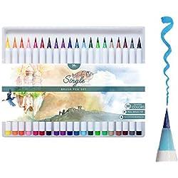 MozArt Supplies Set Multicolor de Rotuladores con Punta de Pincel - Brush Pen 20 Colores con Efectos Acuarela - Juego Ideal para Dibujos de Todo Tipo, Caligrafía y Lettering