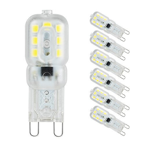 Lampadine a led g9, pursnic lampada g9 3w(equivalente alogeno 33w), bianco freddo(6000k), angolo a fascio 360 °, lampadine a risparmio energetico, 6 pezzi
