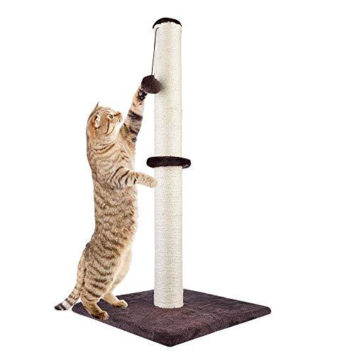 Dimaka 73,7cm di altezza gatto tiragraffi, palo tiragraffi in sisal naturale, cat PC, di peluche tappeto 35,6x 35,6cm base, A Dark Brown