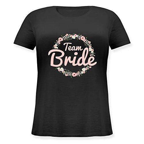 JGA Junggesellinnenabschied - Team Bride Blumenkranz rosé - L (48) - Schwarz - JHK601 - Lockeres Damen-Shirt in großen Größen mit Rundhalsausschnitt