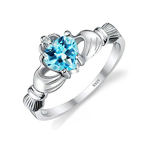 Jewelrypalace Herz 0.6ct Irischer keltischer Claddagh natürlicher blauer Topaz Birthstone Versprechen-Ring 925 Sterling Silber,Größe 46 to 62 Topaz Herzen Versprechen Ring