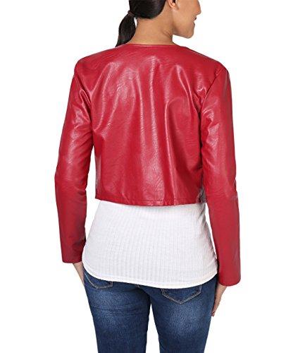KRISP® Damen Kurze Langarm Jacke in Metallic, Glanz & Matt Rot (4432)