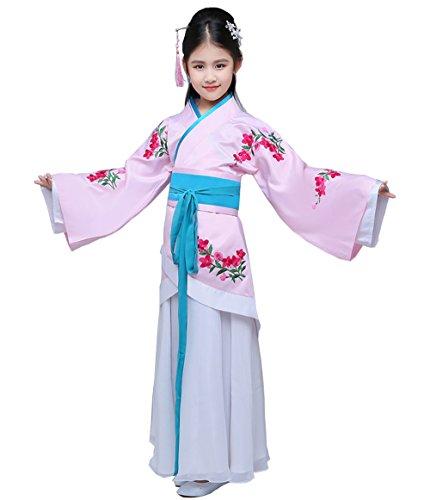 Chinesische Kostüme Kinder (ZENGAI Kleidung Arena Foto Altes Kostüm Kleines Modell Han chinesische Kleidung Rosa Mädchen klassisch Kostüm Wunderbarer Tanz ( Farbe : Einstellen , größe : Height- 130cm)