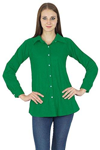 Button Down Top À Manches Longues Kurta Coton Shirt Vêtements Vert foncé