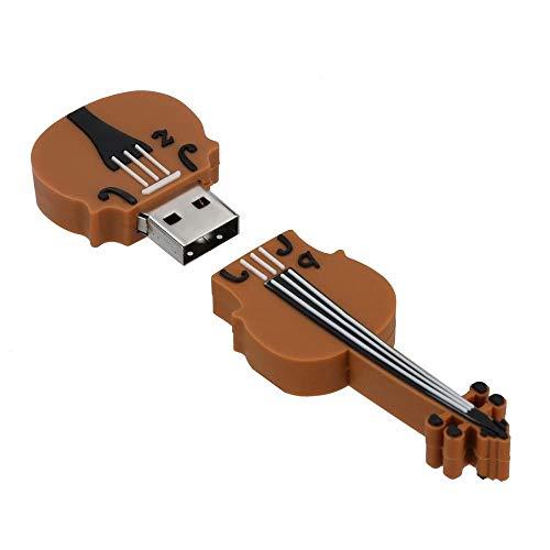 Tonsee 256MB/4GB/8GB/16GB/32GB/64GB USB 2.0 USB Neuheit Geige Form Flash Laufwerk Speicher Daumen Stick schieben (32GB, Braun)