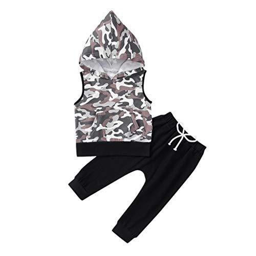 Anglewolf Babykleidung Säugling Outfits Set Jungen Kinder, 2 STÜCKE Ärmellos Kapuzenoberteile Camouflage Sweatsuit + Einfarbig Hosen(Schwarz,80)