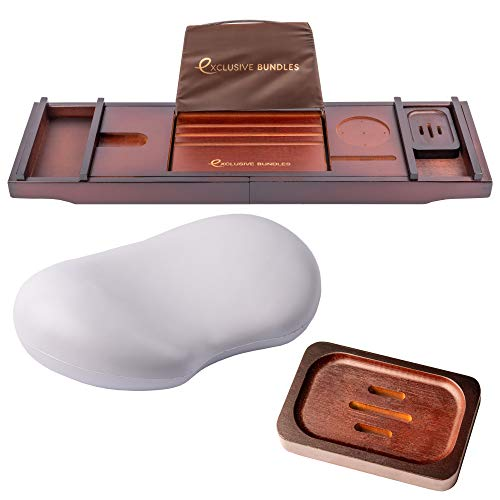 Exklusives Bundles Badewannentablett Set mit Badewannenkissen und Seifenhalter - Bambus Badewannenablage - verstellbar - geeignet als Badewannenregal, Badregal oder Badtisch