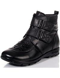 KOUDYEN Invierno Zapatos Antideslizante Boots Botines Botas de Nieve Cuero Para Mujer