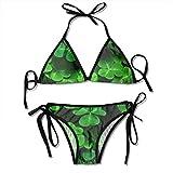 Green Leaves Sexy Women Beach Swimwear Two Pieces Bathing Suit Bikini Top