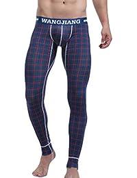 Hibote Hombre Pantalones Térmicos - Imprimir Largo Delgado Stretch Leggings Imprimir Cómodo Algodón Ropa Interior Invierno Cálido Calzoncillos S-XL