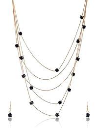 RAI COLLECTION Golden Gold Plated Multi-Strand Necklace Set For Women (RAI093)