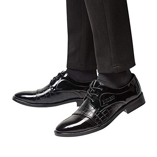 Moika scarpe derby uomo scontate moderno classico pizzo su cuoio foderato scarpe business scarpe in pelle(245/40, nero)