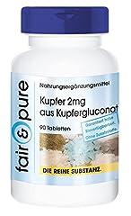 2mg, Kupfergluconat, vegan, ohne Magnesiumstearat