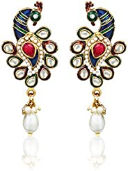 Peacock Pattern Earrings By Zaveri Pearls-Zpfk317