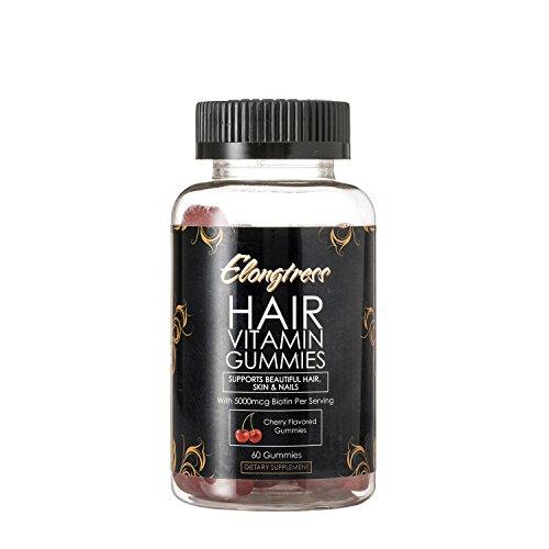Elongtress Haar Gummibärchen Vitamin-Ergänzung - 5000mcg Biotin pro Portion - Haare Haut & Nägel gummies - Haar Vitamine für schnelleres Haarwachstum