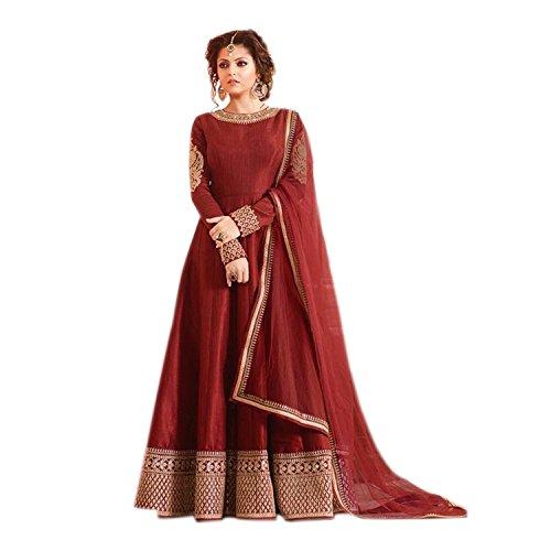 Aryan Fashion Women's Silk Semi-Stitched Anarkali Salwar Suit Set (Maroon, 620-620)