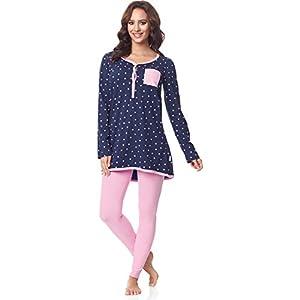Be-Mammy-Premam-Pijama-Conjunto-Camiseta-y-Leggins-Embarazo-Lactancia-Maternidad-Vestidos-de-Cama-Mujer-BE20-178Marino-Puntitos-Rosa-XL
