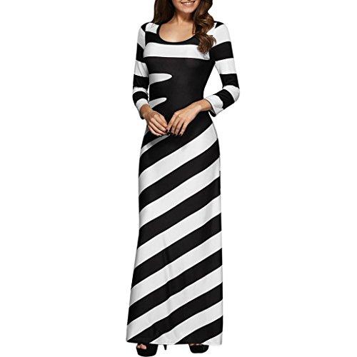 Honestyi Frauen O-Asschnitt lässig Classic streifen Gedruckt Abendgesellschaft Kleid Langes Kleid Festliches Kleid Elegant Partykleider Cocktailkleider (L, Schwarz)