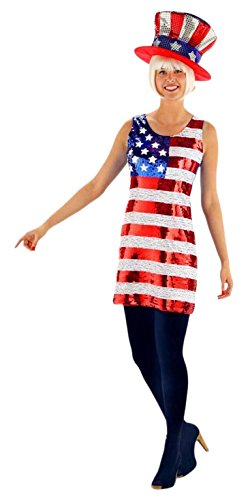 Folat 21929 -Glitter Kleid American Flag USA, Frauen, ()