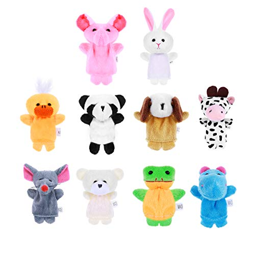 BESPORTBLE WINOMO 10 stücke Cartoon Tier Fingerpuppen Weiche Samt Puppen Requisiten Spielzeug (Zufällige Muster)