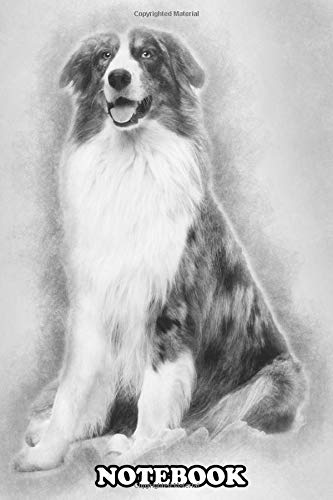 Notebook: Australian Shepherd Sitting With A Bowl Full Bones In F , Journal for Writing, College Ruled Size 6″ x 9″, 110 Pages