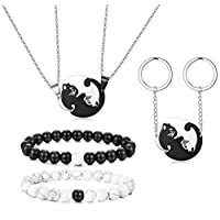Thunaraz 6PCS Stainless Steel Yin Yang Pet Cat Puzzle Pendant Necklace for Couples Couple Bracelet Couple Keychain