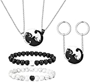 Thunaraz 6PCS Stainless Steel Yin Yang Pet Cat Puzzle Pendant Necklace for Couples Couple Bracelet Couple Keyc