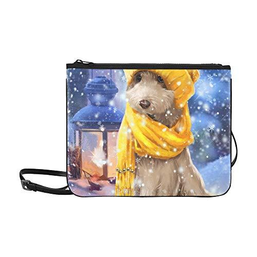 WYYWCY Welpen-Winter-Malerei-kundenspezifische hochwertige Nylon-dünne Handtasche Cross-Body Bag Umhängetasche