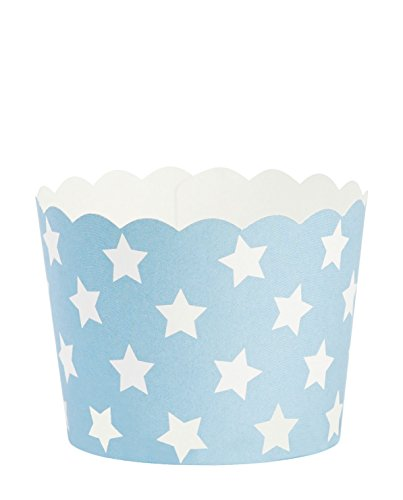 White Paper Cups (Baking cup M turquoise w/white stars paper 24cups H:4,7 Ø:6cm)