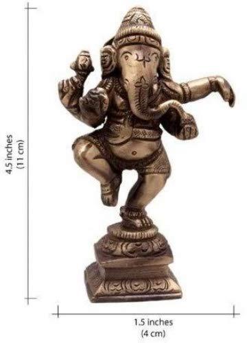 """Ganesh, Ganpati, Messing Statue Indische Handcrafted Religiöse Skulptur von Ganesha, Antik-Look aus massivem Messing Skulptur Artefakt, Weinlese-dekorative, wertvolle Sammlung, Messing Finish, Hand Religiöse Geschenk, (4\"""" Dancing)"""