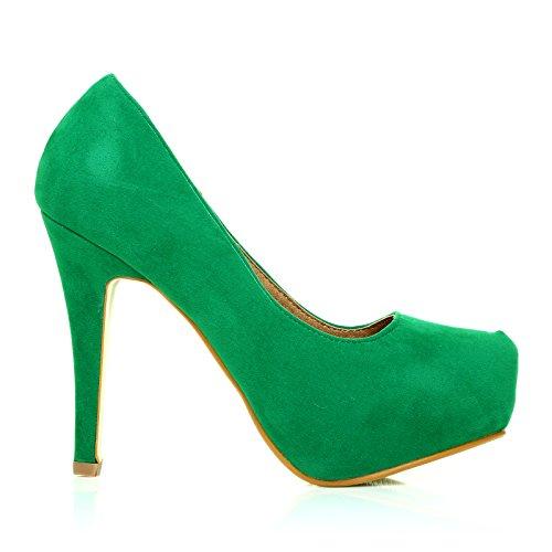 Scarpe verdi scamosciate eleganti con tacchi a spillo zeppa nascosta - h251 Verde scamosciato