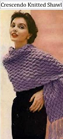 CRESCENDO SHAWL - Vintage 1950's Knitting Pattern ~ Kindle Book / Ebook Download (e-book, knit, knitted, stole, yarn, craft, women, girl,