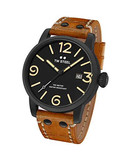 TW Steel Maverick Men Quartz Watch with Black Dial Analogue Display and Brown Leather Strap MS31