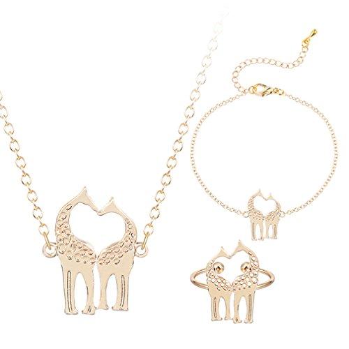 Lovely Animal Jewelry Sets Giraffe Pendant Necklace 18k Gold Love you Animal Bracelets for Women