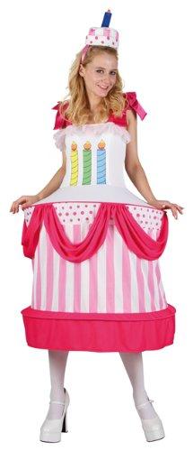 Kuchen Kostüm - P 'tit Clown 86899Kostüm Erwachsene Damen Geburtstagstorte-Einheitsgröße-Mehrfarbig