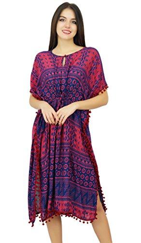 Bimba Womens Designer gedruckt Kaftan mit Pom-Pom Strand Covery bis Chic Kaftan Kleid -