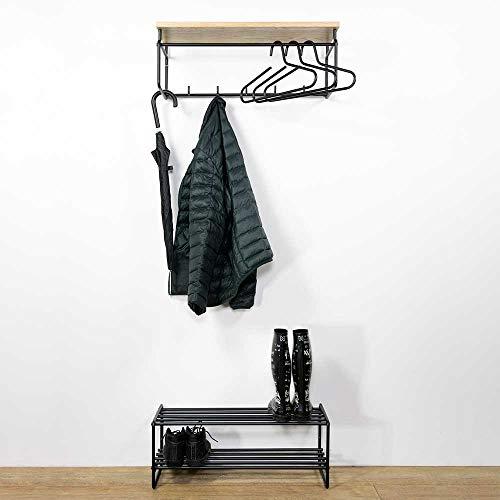 Pharao24 Garderobenkombination in Schwarz aus Stahl Eiche Massivholz