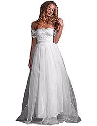 31aa2984bb1a HotGirls Chiffon Pizzo Boho spiaggia abiti da sposa lunghi senza spalline  maniche corte ante