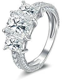 2df32658e254 Daesar Joyería Anillo Compromiso Plata 925 para Boda Pedida Personalizado  Halo de Diamante Imitación Geométrico Sortijas