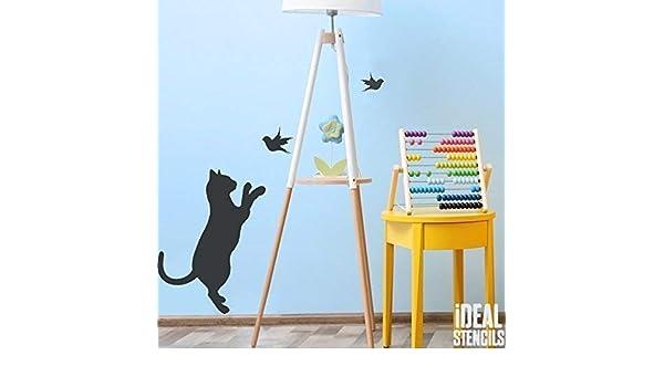 R/éutilisable Art Artisanat semi transparent pochoir Peinture Murs Tissu et Meubles Ideal Stencils Chat /& Oiseau Pochoir S//Cat Size 17x25cm Maison Cr/èche D/écor Mural