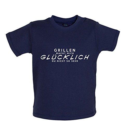 Küken Mädchen T-shirt (Grillen macht mich glücklich - Baby T-Shirt - Marineblau - 12 bis 18 Monate)
