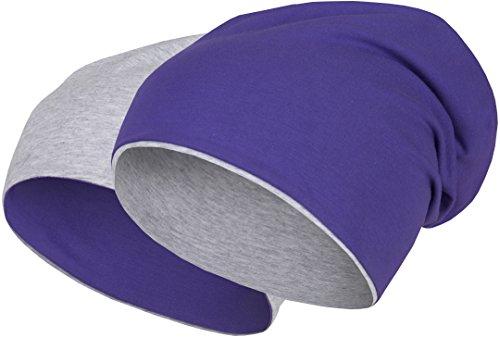 2 in 1 Wendemütze - Reversible Slouch Long Beanie Jersey Baumwolle elastisch Unisex Herren Damen Mütze Heather in 24 (8) (Light Grey/Purple) -