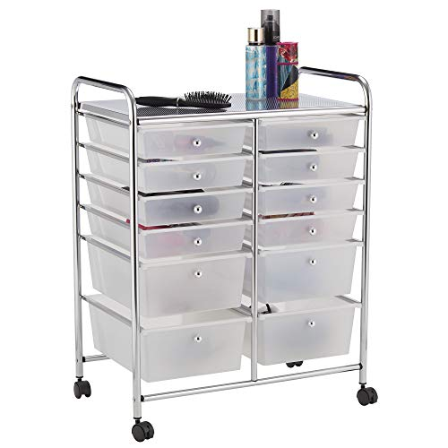 410xG IjIRL. SS500  - Your Home 12 Drawer Mobile Storage Salon Trolley,Home Office, Craft, Hairdressing, Beauty & Make-up Accessories Organiser with Lockable Castor Wheels (White)