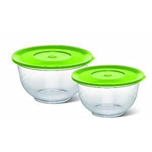 Emsa 514563 Superline salad bowl with lid, set of 2, Ø 22 cm & 26 cm, transparent/green
