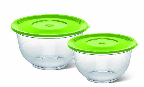 Salatschalen (mit Deckel, Glasklarer Kunststoff, 2 und 3.5 Liter, 22 und 26 cm, Superline) transparent/grün ()