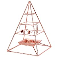 Simmer Stone 3 Tier Pyramid Hanging Jewelry Organizer, Metal Jewelry Display Stand with Tray, Decorative Tower Holder Storage Rack for Earring, Necklace, Bracelet and Accessories