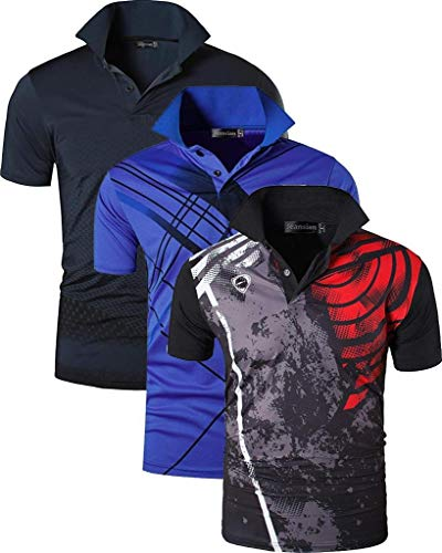 jeansian Herren Men's 3 Mix Packs Sport Quick Dry Short Sleeves Polo T-Shirt Tee LSL195_MixPackD XLPackH