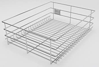 Hettich CargoTech M | SS Wire Basket for Modular Kitchen | Plain Multipurpose Basket - Without Partition | Depth 22 inch ~ 550MM | Width - 436mm (17Inch) x Height - 150mm (6 inch) | Finish: Zinc
