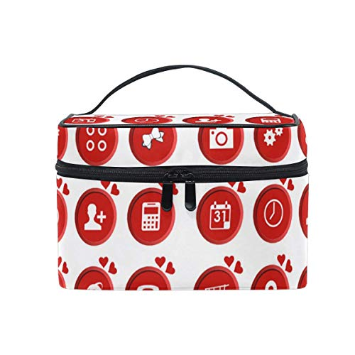 Kosmetiktasche, Make-up Tasche, Makeup Bag Red Heart APP Icon Portable Large Cosmetic Toiletry Bag Travel Train Case Organizer Box Pouch for Girls Women